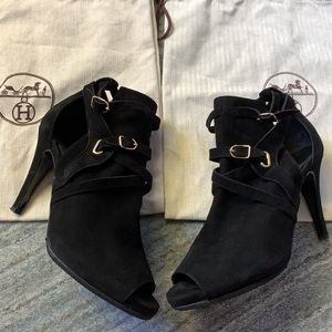 Hermès Black and Gold Suede Peep Toe Booties 8